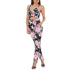 Jolie Moi - Black floral print key hole jumpsuit