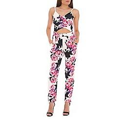 Jolie Moi - Cream floral print key hole jumpsuit