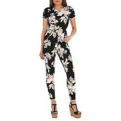 Jolie Moi - Black floral print short sleeve jumpsuit