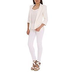 Jolie Moi - Cream 3/4 sleeve open front blazer