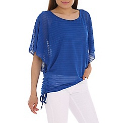 Izabel London - Blue polyester elastane batwing plain top