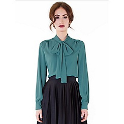 Wolf & Whistle - Green bow front blouse