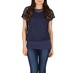 Mandi - Navy short sleeve overlay flower print top