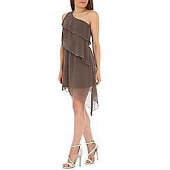Madam Rage - Grey one shoulder embellished dress