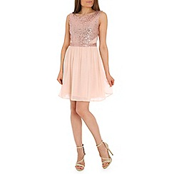 Madam Rage - Cream sequin cutout skater dress