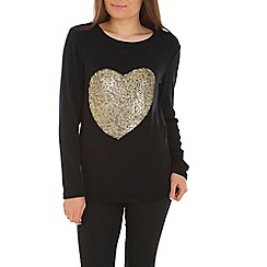 Madam Rage - Black foil heart dipped knit