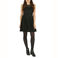 Mandi - Black plain lace skater dress
