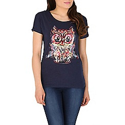 Mandi - Navy butterfly printed top
