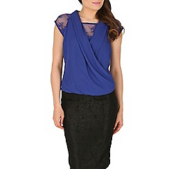 Mandi - Blue open neck lace top