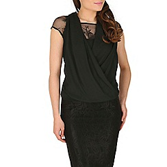 Mandi - Black open neck lace top
