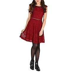 Amaya - Wine lace dress with belt
