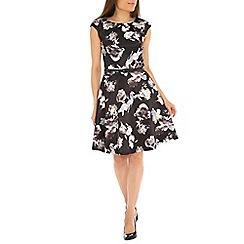 Amaya - Black floral print dress