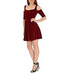 Madam Rage - Red velvet gold shoulder dress