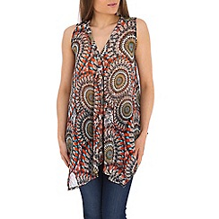 Tenki - Orange abstract print top
