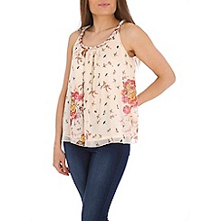 Tenki - Cream flower printt bead insert top