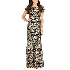 RubyRay - Gold swirl sequin maxi dress