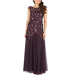 RubyRay - Plum triangle beaded maxi dress