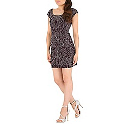 RubyRay - Plum baroque beaded mini dress