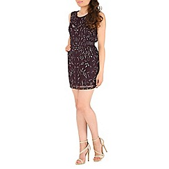 RubyRay - Plum floral beaded shift dress