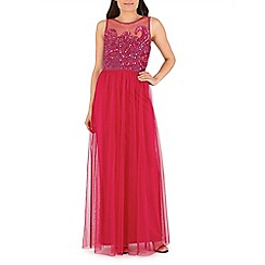 RubyRay - Pink beaded bodice maxi dress