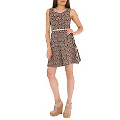 Mela - Brown floral & leaf print dress