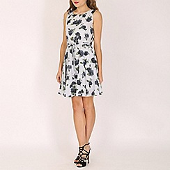 Mela - Grey rose print dress