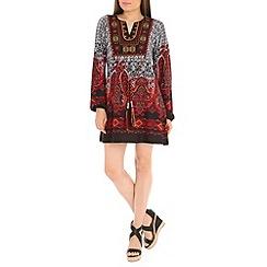 Voulez Vous - Wine paisley border bohemian dress