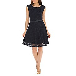 Amaya - Navy lace dress with belt