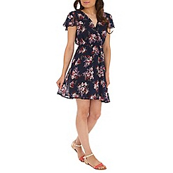 Mela - Navy bunched roses dress