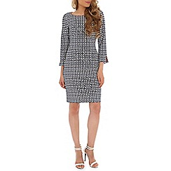 Belle by Badgley Mischka - Navy honeycomb print dress