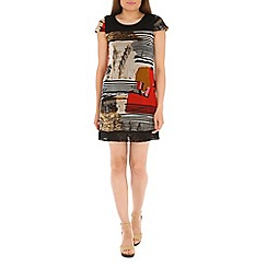 Izabel London - Black polyester multi coloured dress