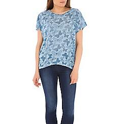 Izabel London - Blue burout butterfly oversized tops