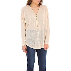 Izabel London - Beige oversized zip detail top