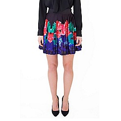 Wolf & Whistle - Multicoloured floral border pleated skirt