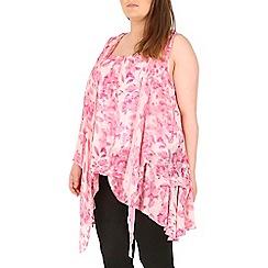 Samya - Pink layered leaf print dress
