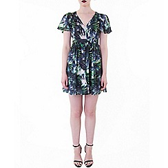 Wolf & Whistle - Multicoloured palm print chiffon dress