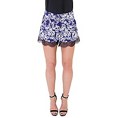 Wolf & Whistle - Blue blossom print shorts