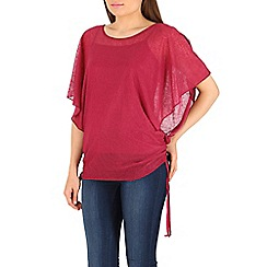 Izabel London - Dark pink batwing tie detail top