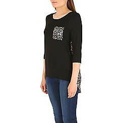 Izabel London - Black animal printed top