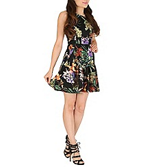 Mandi - Orange tropical floral skater dress