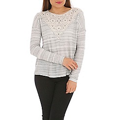 Ballentina - Grey slub top with lace panel