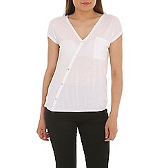 Ballentina - White blouse with diagonal button