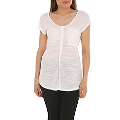 Ballentina - White slub tee with pocket