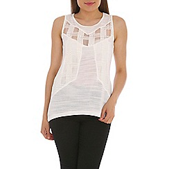 Ballentina - Off white vest tunic with lace front