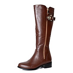 Alice & You - Brown zip up knee high boot