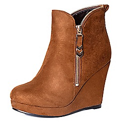 Alice & You - Tan wedge ankle boot