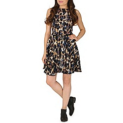 Izabel London - Blue animal print skater dress