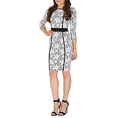Izabel London - Grey panel flower print bodycon