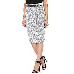 Izabel London - Grey floral lace overlay skirt