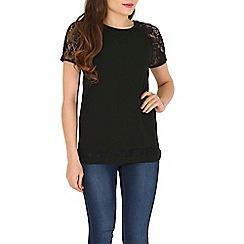 Mandi - Black short sleeve lace top